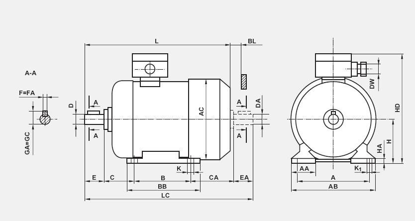 Silniki Besel 3-faz na łapach IMB3