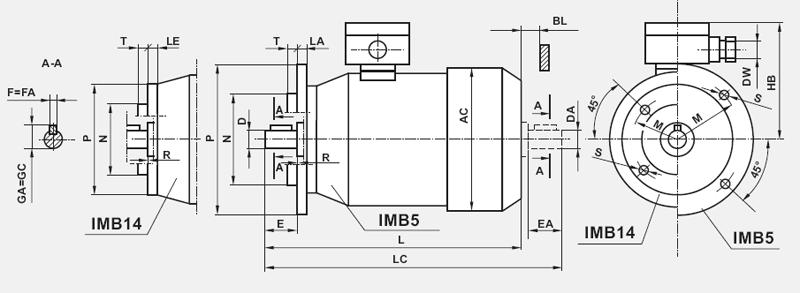 Silniki Besel 3-faz kołnierzowe IMB14