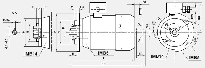 Silniki progresywne IMB14 kołnierzowe